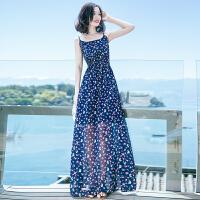 夏季新品女装露背吊带裙子碎花雪纺连衣裙长裙波西米亚沙滩裙 图片色X586