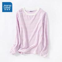 [3折到手价:59.5元,秒杀狂欢再续仅限4.6-4.10]真维斯女装 2020春季新品 圆领色织横间合身长袖T恤