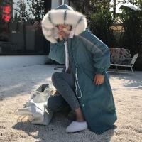 大毛领羽绒服女2018新款冬季韩版时尚宽松中长款收腰过膝连帽外套