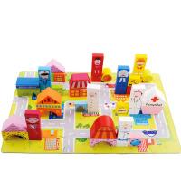 188粒城市职业场景积木木制实宝宝大块智力早教儿童玩具礼物