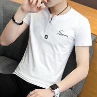 男士短袖T恤V领夏季半袖青少年韩版潮流修身潮个性夏装上衣227#