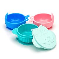 儿童餐具辅食学食碗 宝宝吃饭碗勺套装全硅胶婴幼儿吸盘碗