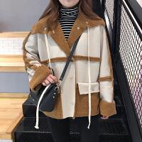 学院风韩版春装女装复古麂皮拼接毛绒外套学生前后两穿大衣女