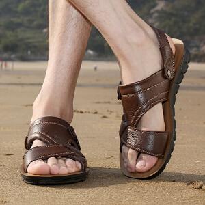 宜驰EGCHI 凉鞋男士沙滩户外头层牛皮透气凉拖鞋 13082