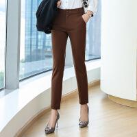 秋冬西装裤女长裤职业高腰休闲裤直筒小脚正装裤黑色工作加绒西裤