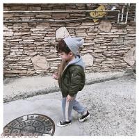 冬季18冬款儿童连帽男女童韩版加棉棒球服宝宝拉链厚外套保暖夹克秋冬新款 绿色 现货