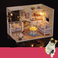 diy小屋手工制作小房子建筑模型拼装玩具创意情人节生日礼物女生 (加天空之城机芯)