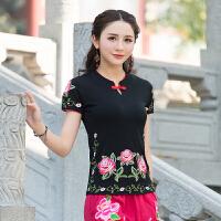 大码中国风上衣夏季新款民族风复古刺绣盘扣立领T恤短袖显瘦