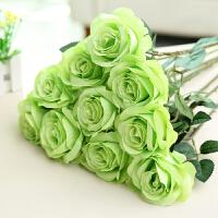 仿真玫瑰花假花套装客厅餐桌单支装饰婚庆花干花花束摆件摆设花艺 10支装 绽放绿色