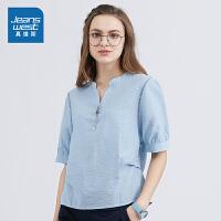[到手价:99.9元再叠30券,仅限2.19-24]真维斯女装 2019夏装新款 休闲短袖衬衫