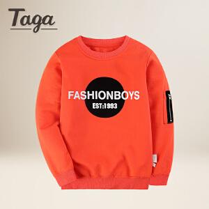 TAGA童装男童T恤 儿童t恤长袖男 2018春装新款圆领休闲大童打底衫