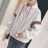 新款2018秋装韩版宽松棒球服连帽外套男士撞色插肩袖夹克衫冲锋衣