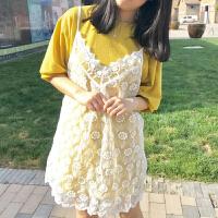 学院风软妹子甜美蕾丝吊带裙+中长款t恤连衣裙学生气质两件套装女