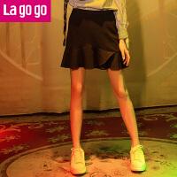 【清仓3折价39.9】Lagogo/拉谷谷2019年秋季新款时尚拉链纯色半裙