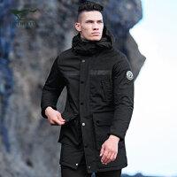 七匹狼户外系列棉服 17冬季新品 运动连帽多袋加厚款中长款棉服男