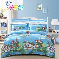 富安娜家纺 酷奇智儿童纯棉斜纹床上用品四件套 亲肤柔软床单被罩1.5/1.8米床适用