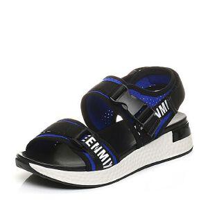 Teenmix/天美意2017夏专柜同款弹力布运动风厚底女凉鞋6Y401BL7
