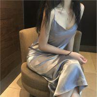 夏季新复古韩国纯色显瘦吊带打底长裙气质V领无袖宽松连衣裙女