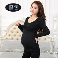 孕妇秋衣加厚加绒套装托腹哺乳保暖内衣产后月子服 均码