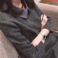 2018冬季新款法式气质小香风中长款女装长袖打底秋冬款毛呢连衣裙 深灰色