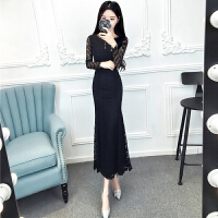 连衣裙秋装新款女2018新款春季长裙时尚长袖蕾丝气质鱼尾裙包臀裙