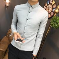 新款韩版男士长袖衬衫修身青少年瘦小个子发型师上班衬衣S小