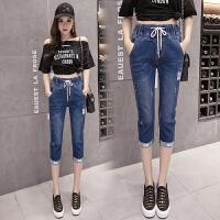 牛仔七分裤女夏装新款2018大码女装修身弹力小脚铅笔裤子