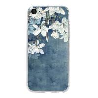 苹果6s套iphone7手机壳8plus玻璃女款软全包边玉兰花情侣外壳