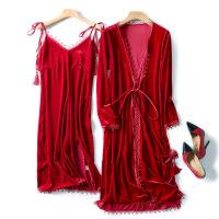 睡袍女秋冬晨袍新娘金丝绒睡衣结婚礼浴袍长款性感吊带睡裙两件套