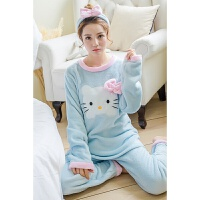 【内衣优选】送发带冬季韩版卡通可爱KT猫保暖法兰绒女士长袖睡衣套装家居服
