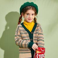【1件4折:102】巴拉巴拉旗下女童开衫外套儿童针织衫中大童森系2020春季新款女