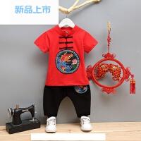 中国风童装男童夏装儿童唐装1-2-3-4-56周岁宝宝短袖套装夏季纯棉