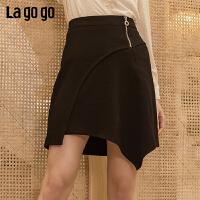 【年终狂欢节两件两折/叠满200-10优惠券】Lagogo/拉谷谷2019年冬季新款黑色短裙不规则半身裙女HCBB13