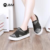【低价秒杀】jm快乐玛丽春季平底迷彩圆头厚底套脚运动风布鞋女鞋子