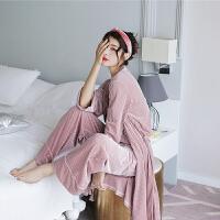 睡衣女秋季三件套丝绒吊带宽松秋款性感套装金丝绒长袖家居服 均码