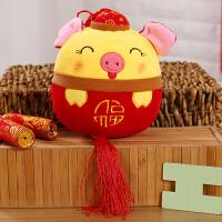 2019猪年吉祥物公仔小猪挂件毛绒玩具年会婚庆礼品 红色 帽子圆球猪 20厘米左右