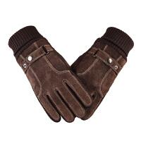 皮手套男士冬季骑行寒触屏户外棉手套骑车摩托车
