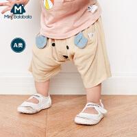 【满200减100】迷你巴拉巴拉男女童宝宝中裤2018夏装婴幼儿卡通动物短裤儿童裤子