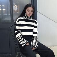时尚韩版新款女装秋冬季高领条纹长袖毛衣百搭宽松毛针织衫上衣潮