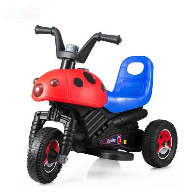 甲壳虫儿童电动车儿童电动三轮车 电动摩托车甲壳虫宝宝电动玩具童车可坐人 活力红