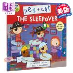 【中商原版】佩格和小猫5 英文原版 The Sleepover (Peg + Cat) 儿童绘本 卡通动画 贴纸书 4