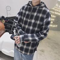 新款2018男士长袖男士个性长袖衬衫秋季格子衬衫男长袖外穿港潮流