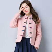中国风短加厚外套2017春装装新款民族风棉麻粉色花色夹层加厚棉衣