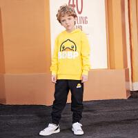 B.duck小黄鸭童装儿童套装 冬季新款洋气针织连帽套装两件套BF5081986