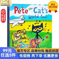 送音频 皮特猫系列英文原版纸板书 Pete the Cat's World Tour