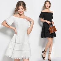 一字领露肩连衣裙修身显瘦A摆宴会礼服夏季新款白色短款日常