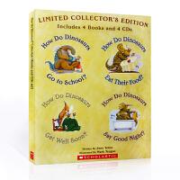 英文原版有声绘本 How Do Dinosaurs 家有恐龙系列 4册书+4片原版CD 吴敏兰推荐习惯养成 go to
