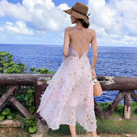 吊带长裙沙滩裙超仙普吉岛泰国海边度假露背连衣裙仙女裙温柔 粉色