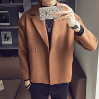 ins短款风衣男士修身帅气百搭毛呢外套chic韩版潮流休闲呢子夹克