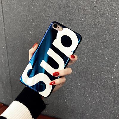 苹果6手机壳蓝光iPhone6plus男女款苹果6s硅胶英文